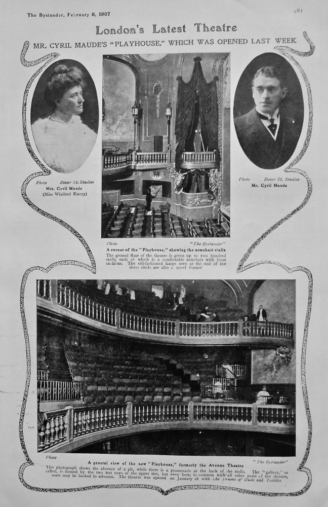 """London's Latest Theatre : Mr. Cyril Maude's """"Playhouse,"""" which was opened last week. 1907."""