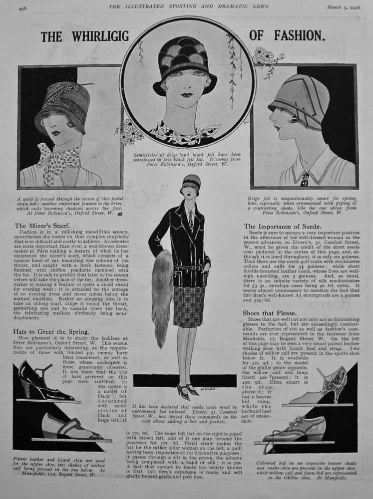 The Whirligig of Fashion. (Fashion Article with Illustrations.) 1928.