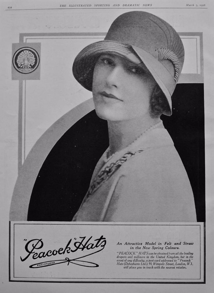 """Peacock"" Hats.  (Debenhams Ltd.) 1928."