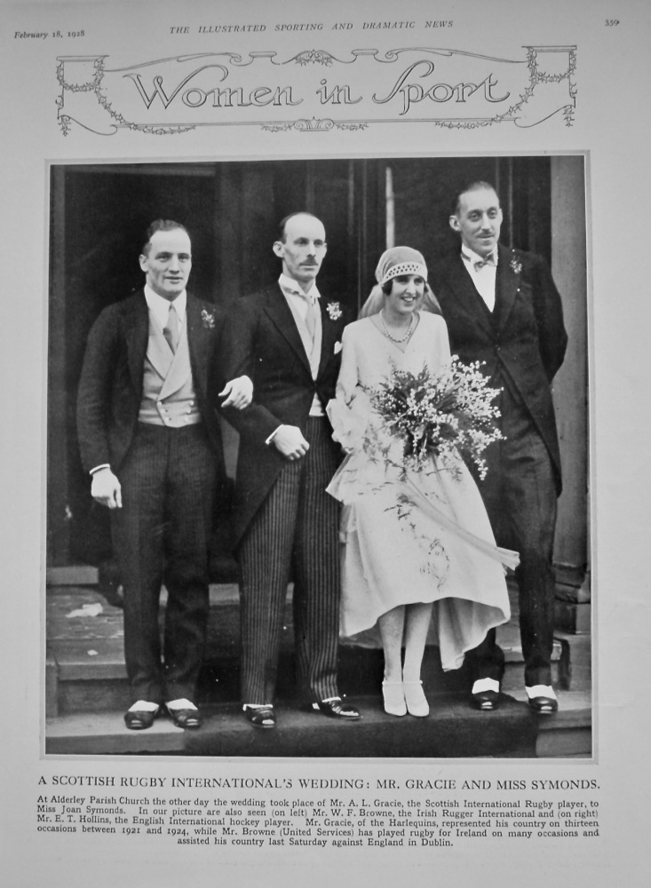 A Scottish Rugby International's Wedding : Mr. Gracie and Miss Symonds. 1928.