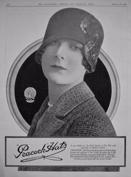 """Peacock"" Hats. (Debenham's Ltd.) 1928."
