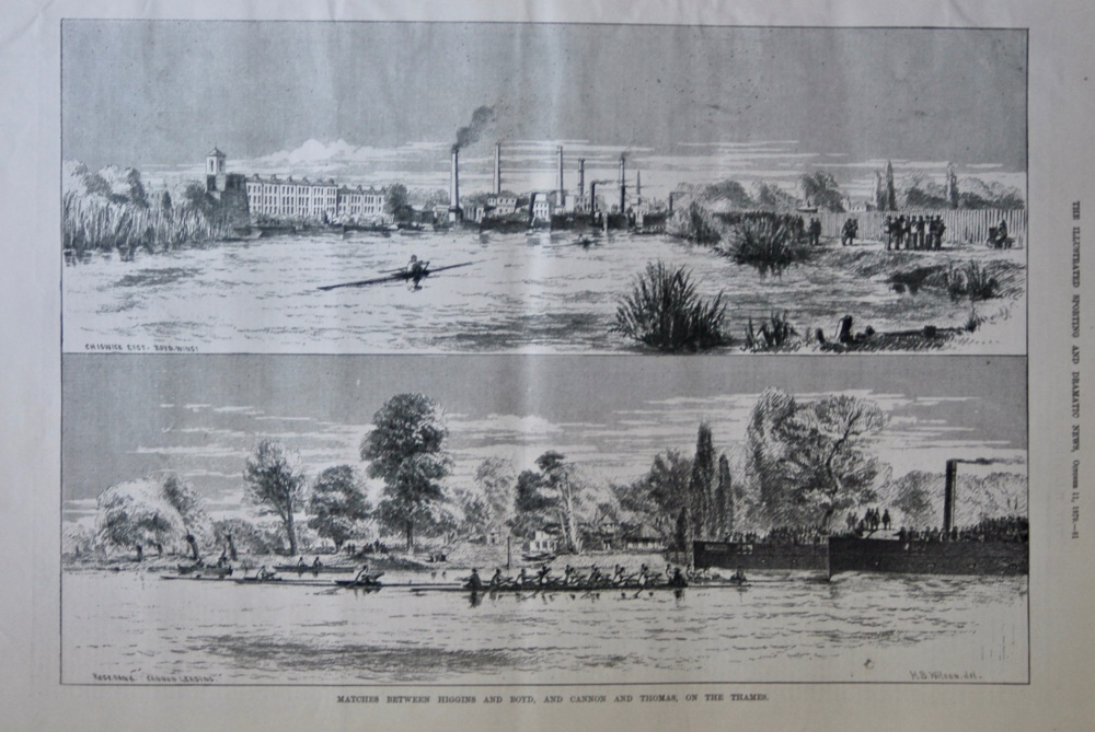 Matches between Higgins and Boyd, and Cannon and Thomas, on the Thames.  1879.