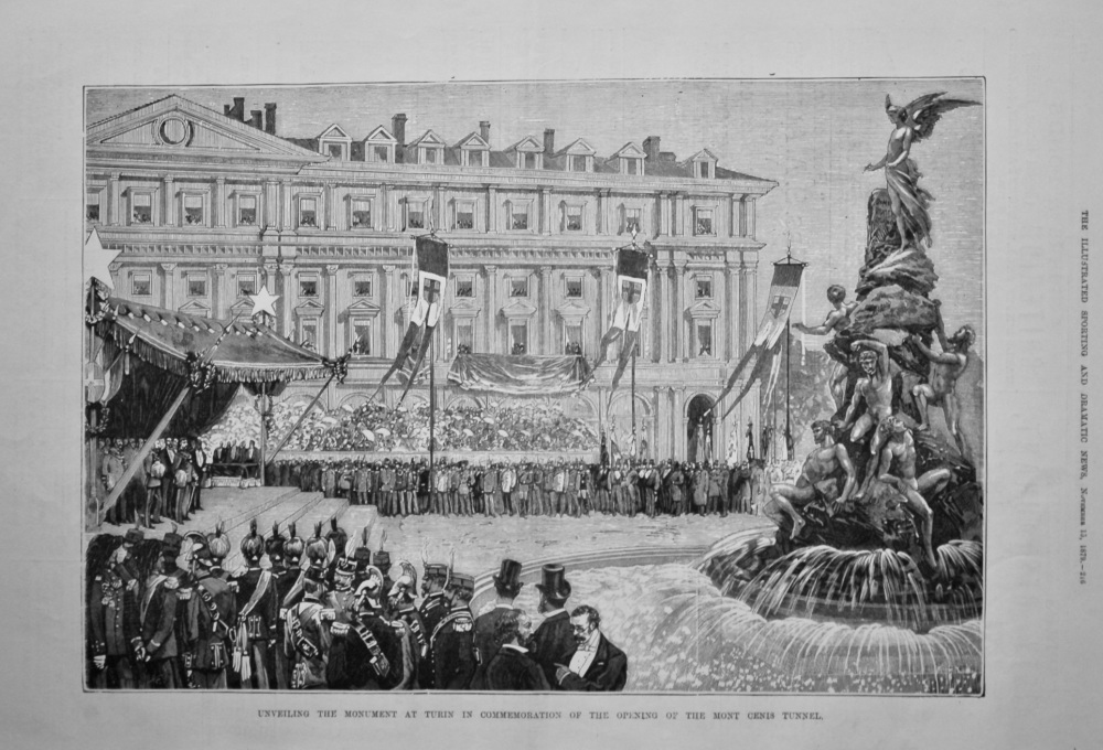 Unveiling the Monument at Turin in Commemoration of the Opening of the Mont Cenis Tunnel.  1879.