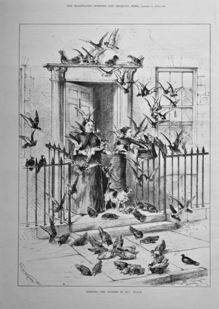 Feeding the Pigeons in Ely Place.  1880.