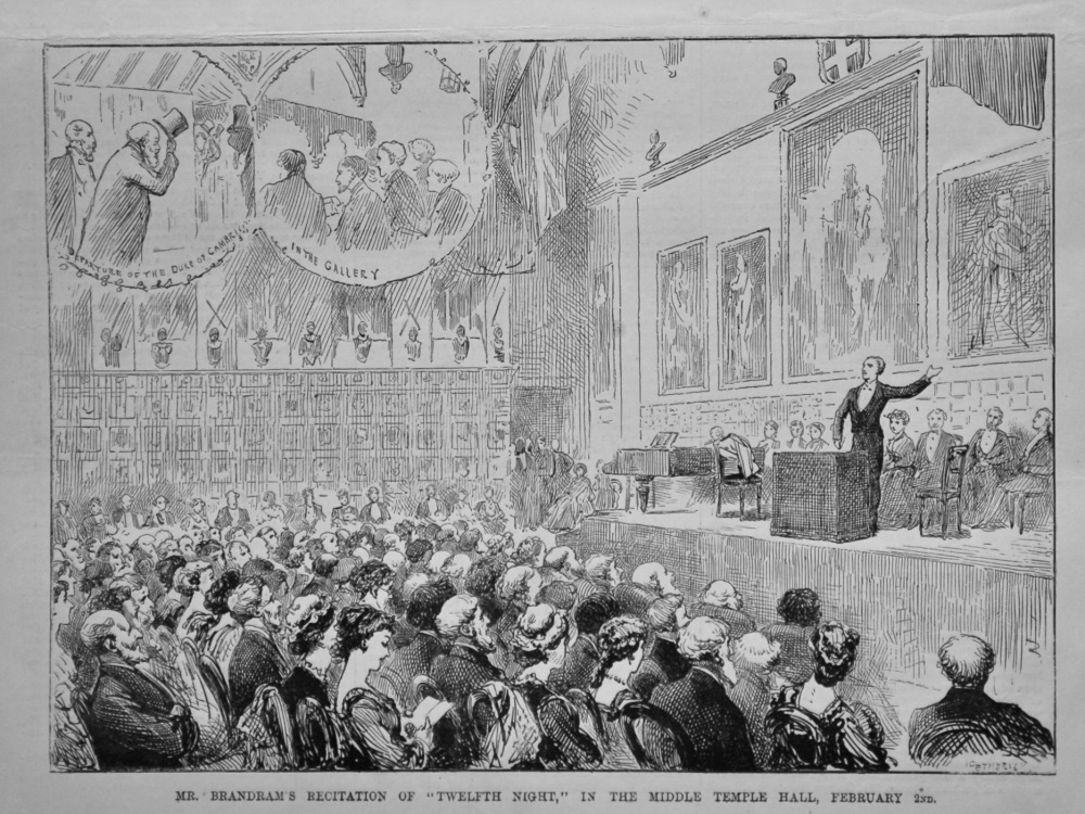 "Mr. Brandram's Recitation of ""Twelfth Night,"" in the Middle Temple Hall, February 2nd, 1880."