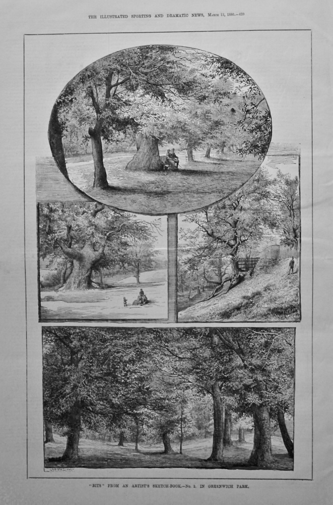"""Bits"" from an Artist's Sketch-Book.- No. 2. in Greenwich Park. 1880."