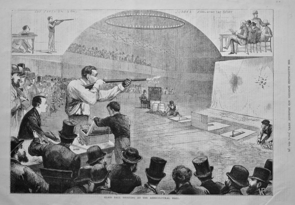 Glass Ball Shooting at the Agricultural Hall. 1878.