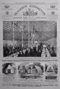 Benjamin Edgington. (Marquee, Tent, Flag & Rick Cloth Manufacturer.)  1878.