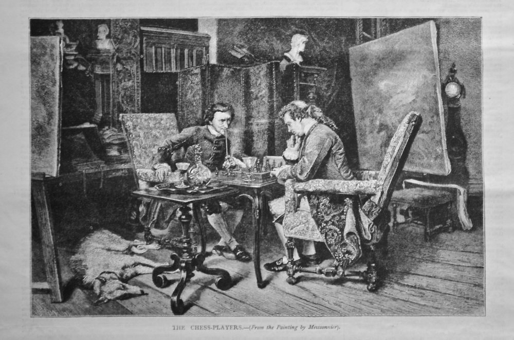 The Chess-Players.- (From a painting by Meissonnier).  1878.