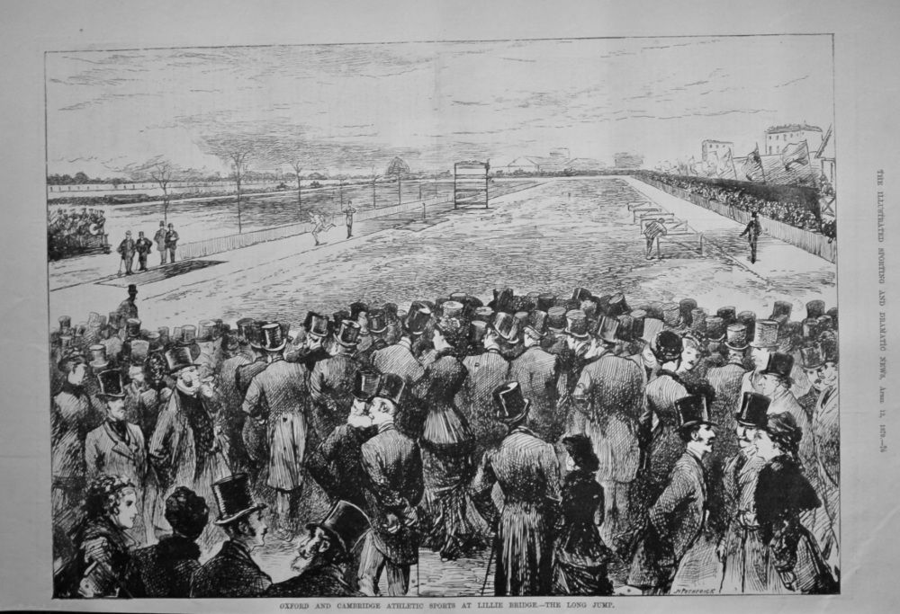 Oxford and Cambridge Athletic Sports at Lillie Bridge.- The Long Jump.  1879.