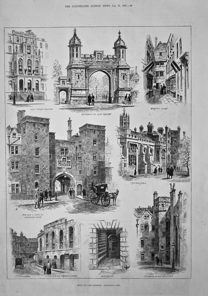 Bits of Old London : Lincoln's Inn.  1887.