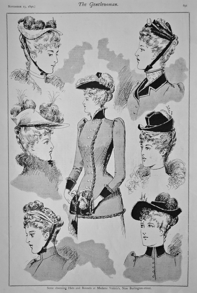 Some Charming Hats and Bonnets at Madame Valerie's, New Burlington-street. 1890.