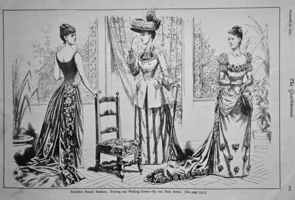 Exclusive French Fashions.  Evening and Walking Gowns.  1890.