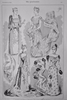 Exclusive French Fashions - Ball Gowns.  1890.