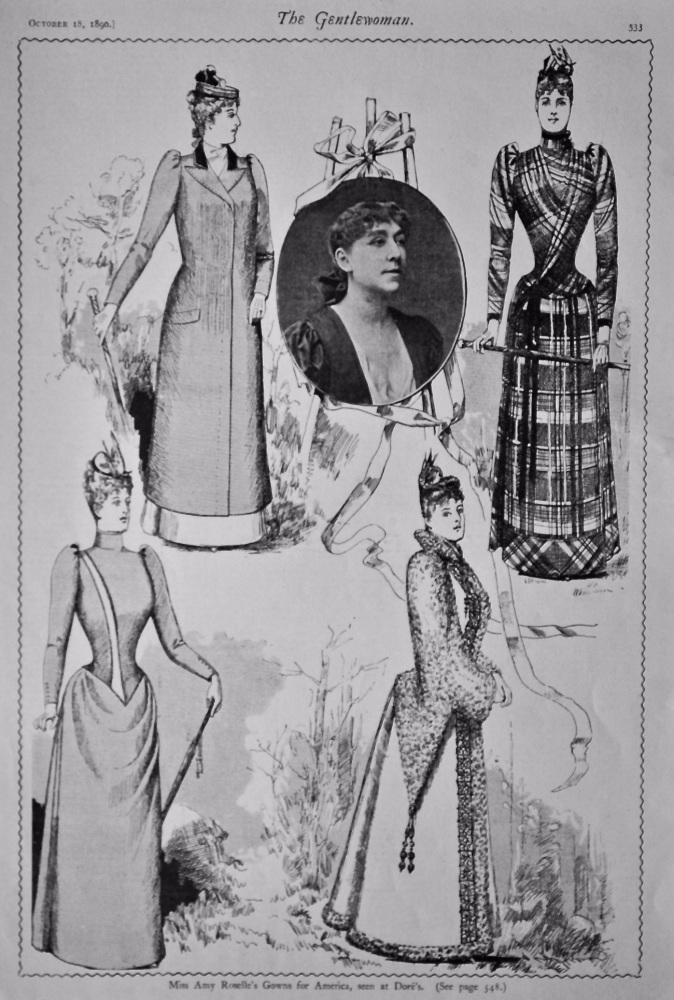 Miss Amy Roselle's Gowns for America, Seen at Dore's.  1890