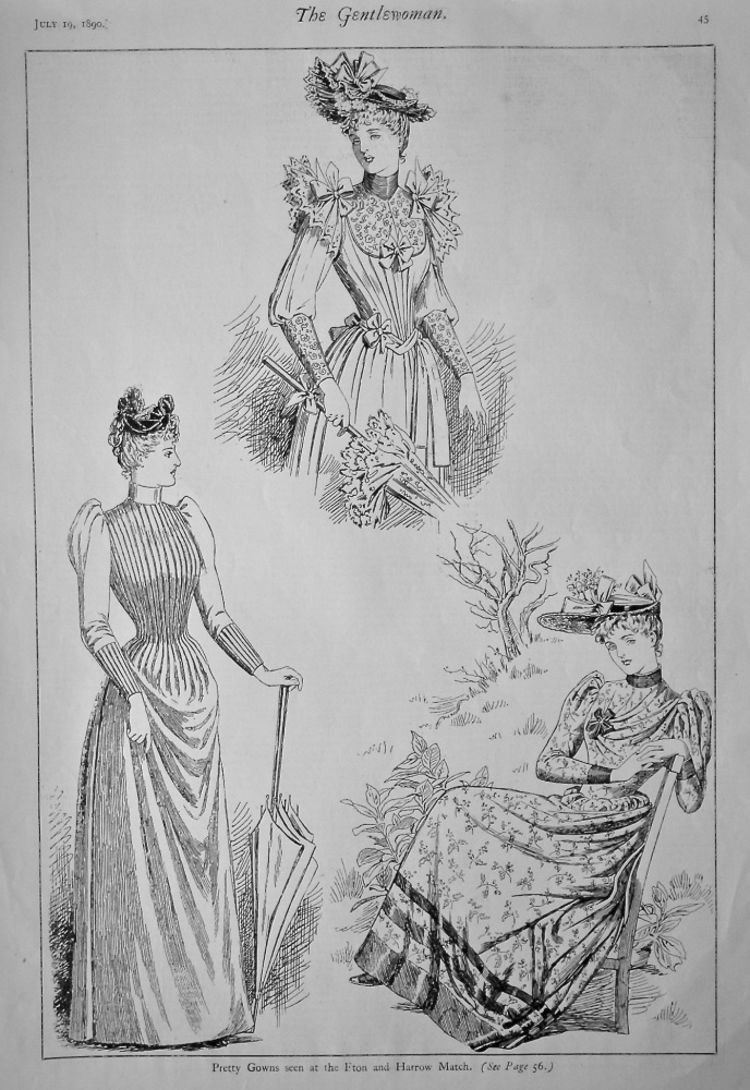 Pretty Gowns seen at the Eton and Harrow Match.  1890.