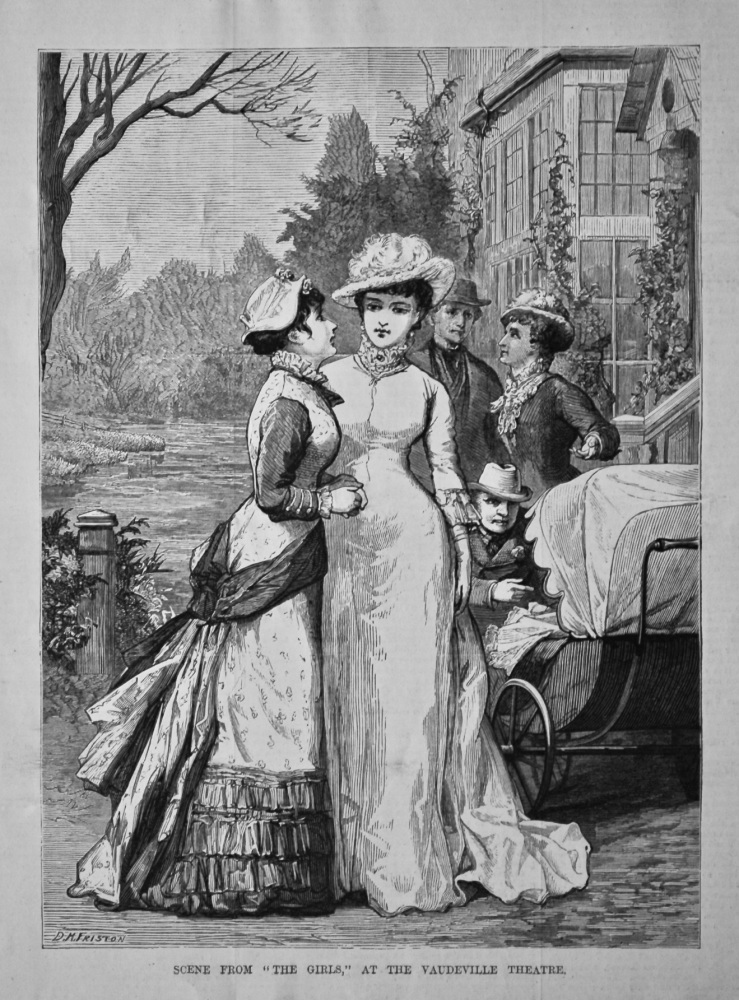 """Scene from """"The Girls,"""" at the Vaudeville Theatre.  1879."""