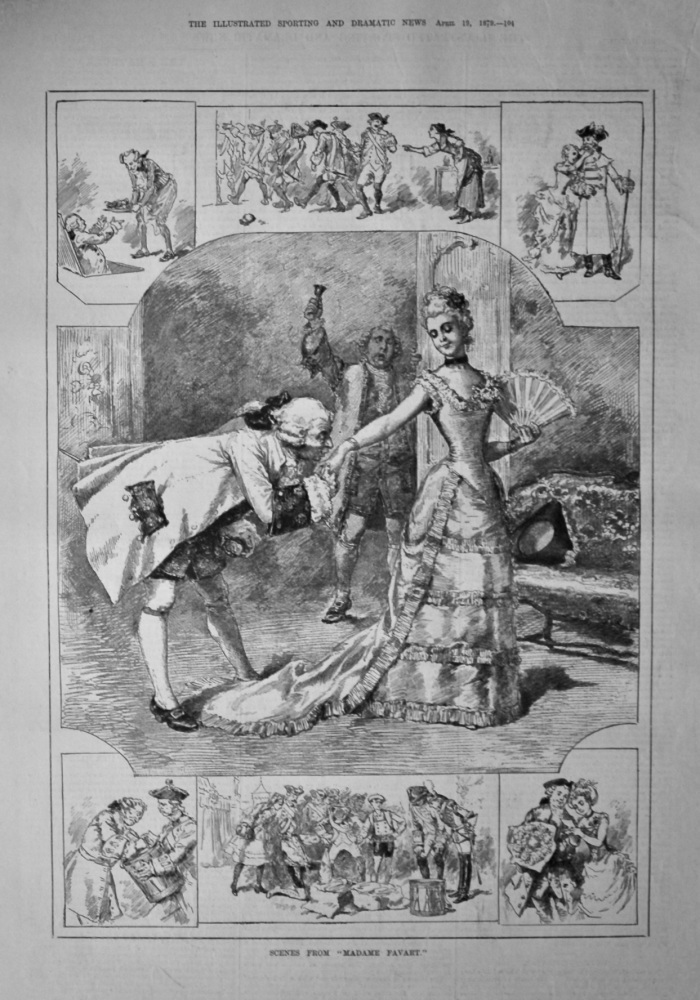 """Scenes from """"Madame Favart.""""  1879."""