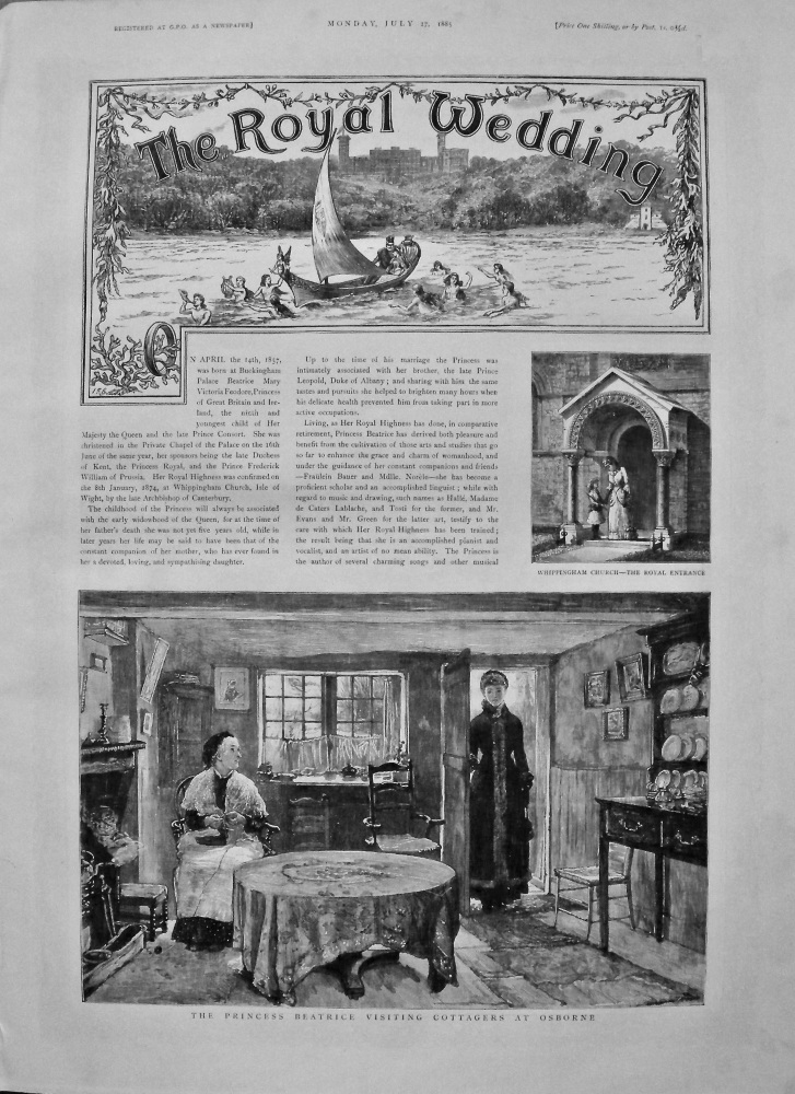 The Graphic, July 27th, 1885.  (Supplement)  :  The Royal Wedding of Princess Beatrice and Prince Henry of Battenberg.