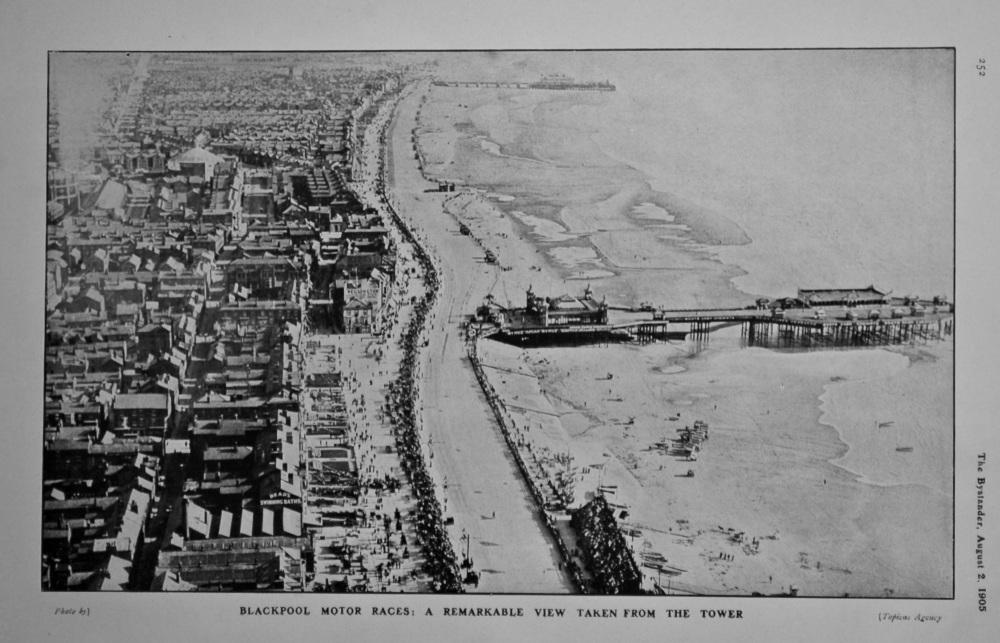 Blackpool Motor Races : A Remarkable View taken from the Tower.  1905.