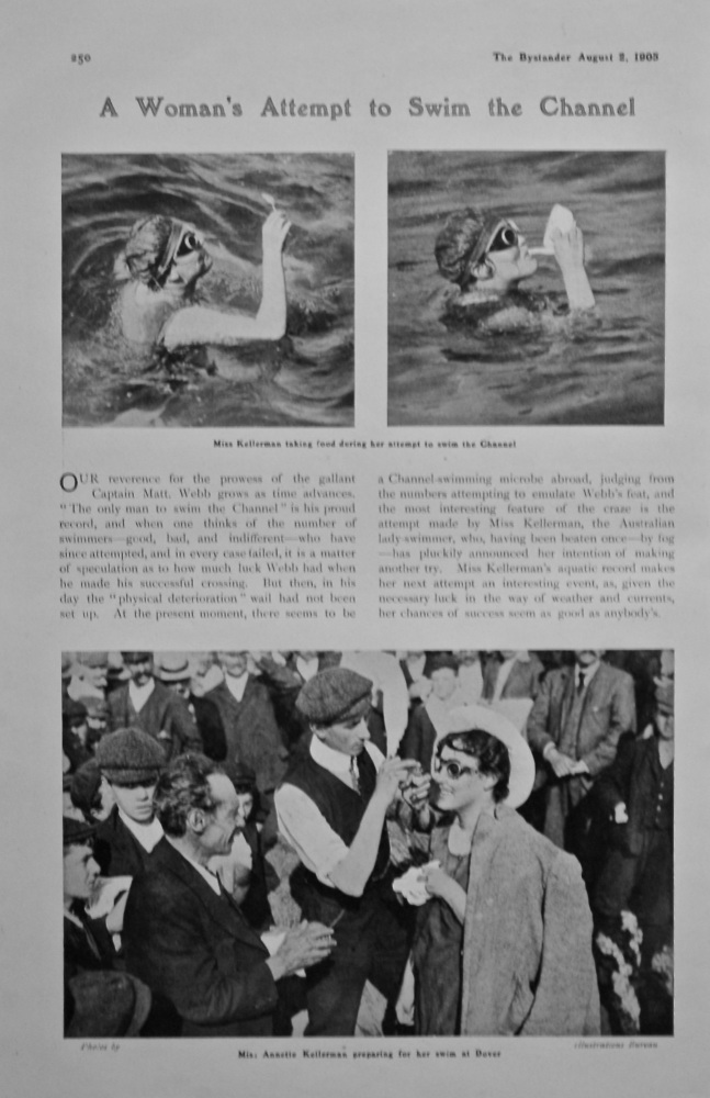 A Woman's Attempt to Swim the Channel.   (Miss Annette Kellerman)  1905.