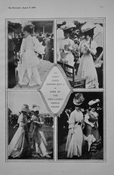 At St. Cloud Sunday, July 23 -  Some of the very Latest French Frocks. 1905.
