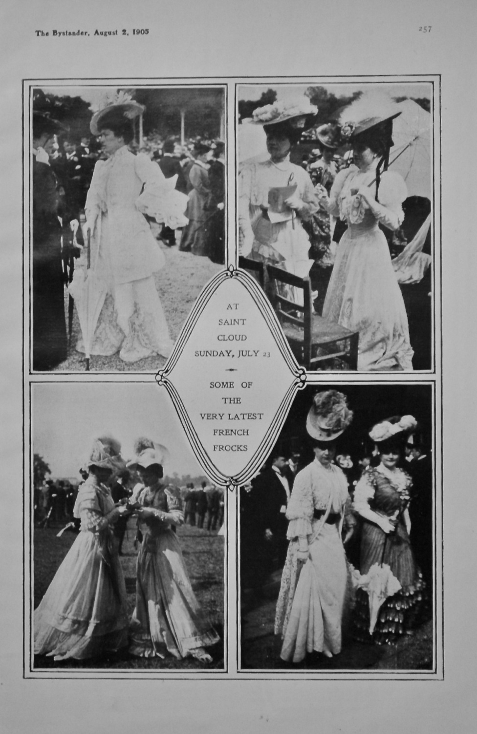 At St. Cloud Sunday, July 23 -  Some of the very Latest French Frocks. 1905