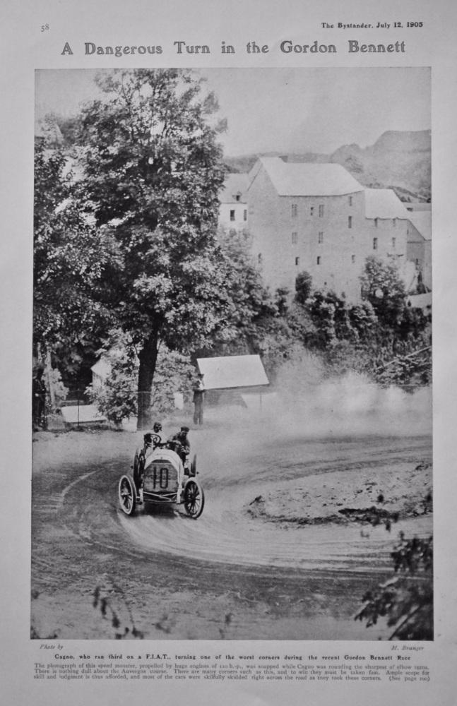 A Dangerous Turn in the Gordon Bennett.  1905.