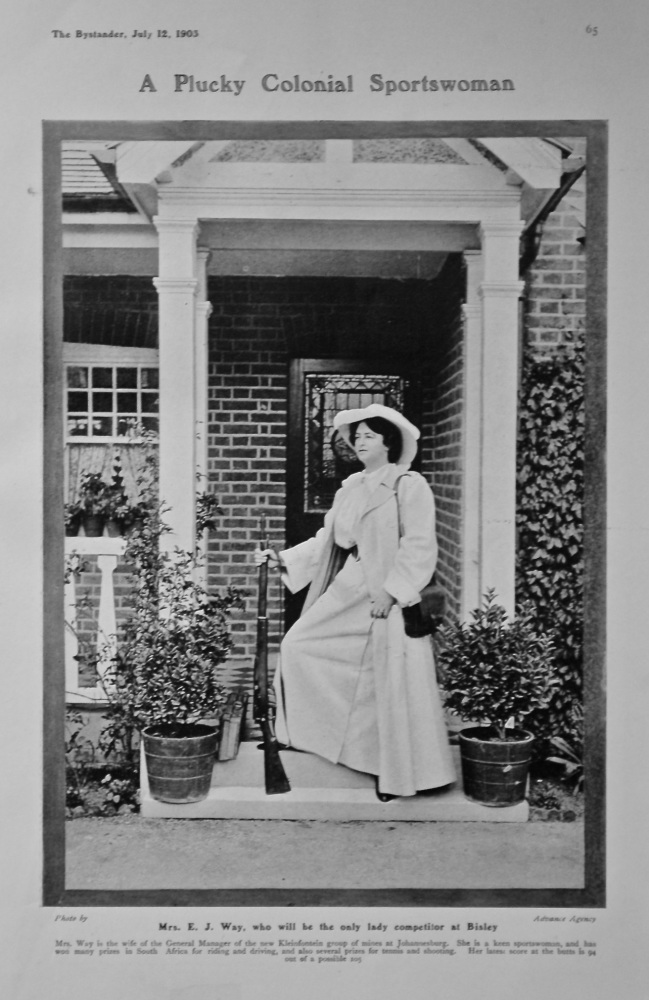 A Plucky Colonial Sportswoman : Mrs. E. J. Way, who will be the only lady competitor at Bisley.  1905.