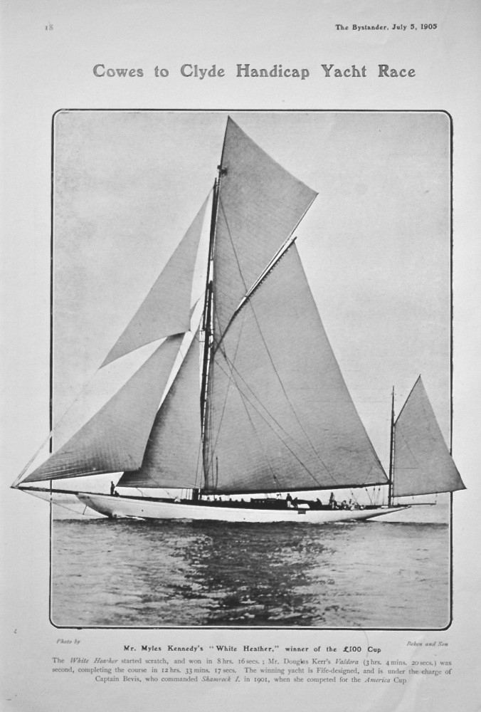 Cowes to Clyde Handicap Yacht Race.  1905.