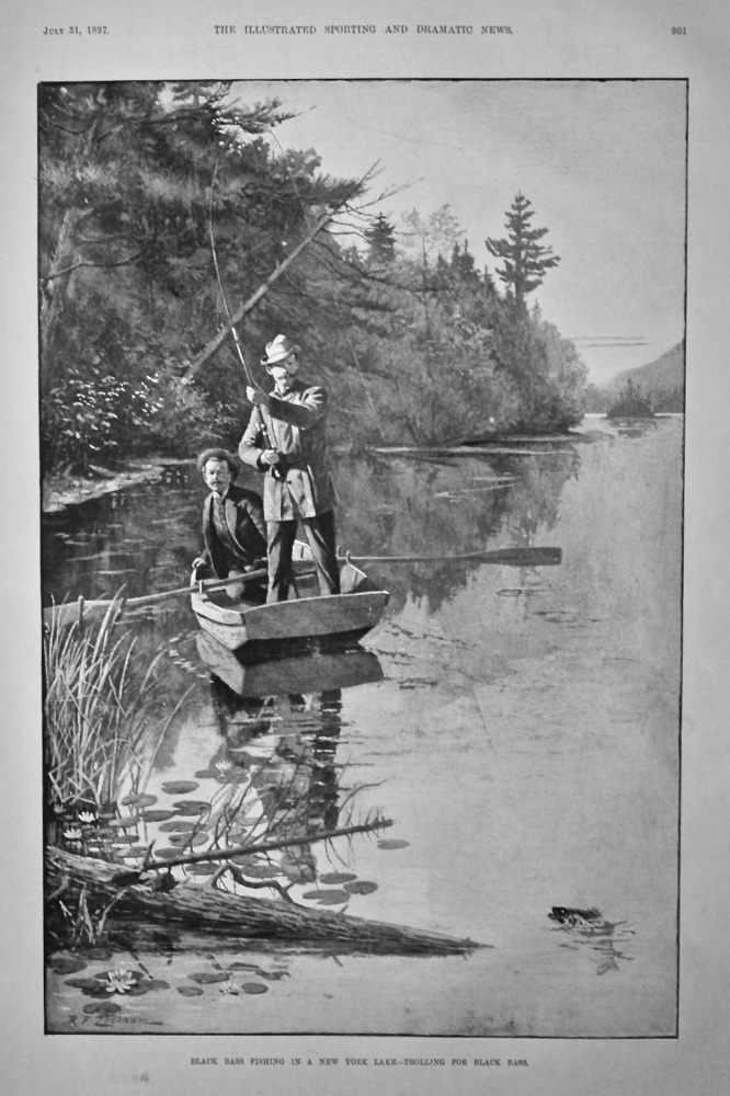 Black Bass Fishing in a New York Lake - Trolling for Black Bass.  1897.