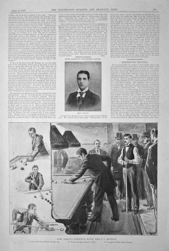 Herr Kerkau's Exhibition Match with J. P. Mannock.  (Cue Sport)  1897.