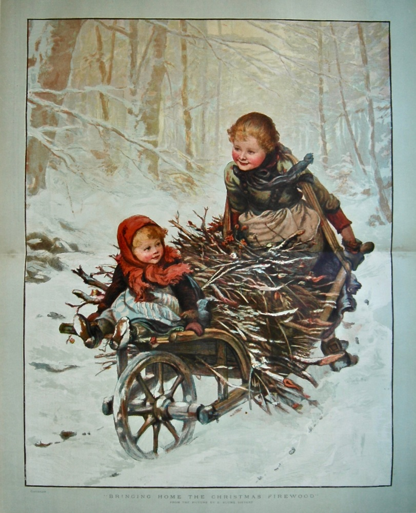 """""""Bringing Home The Christmas Firewood"""".  1886."""
