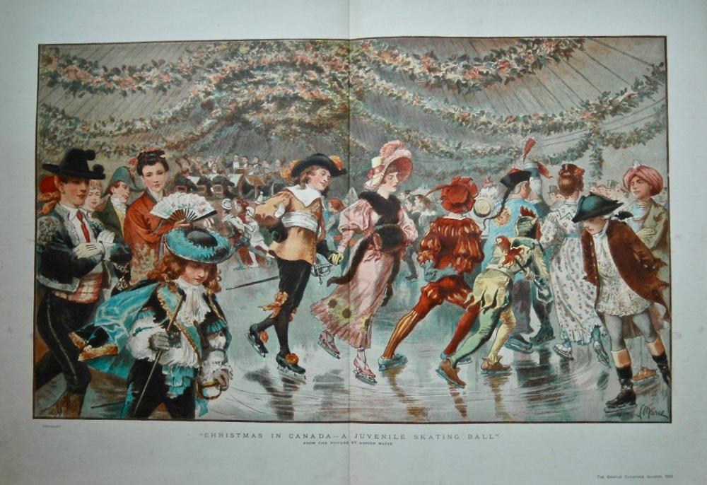 """Christmas In Canada - A Juvenile Skating Ball"".   1883."