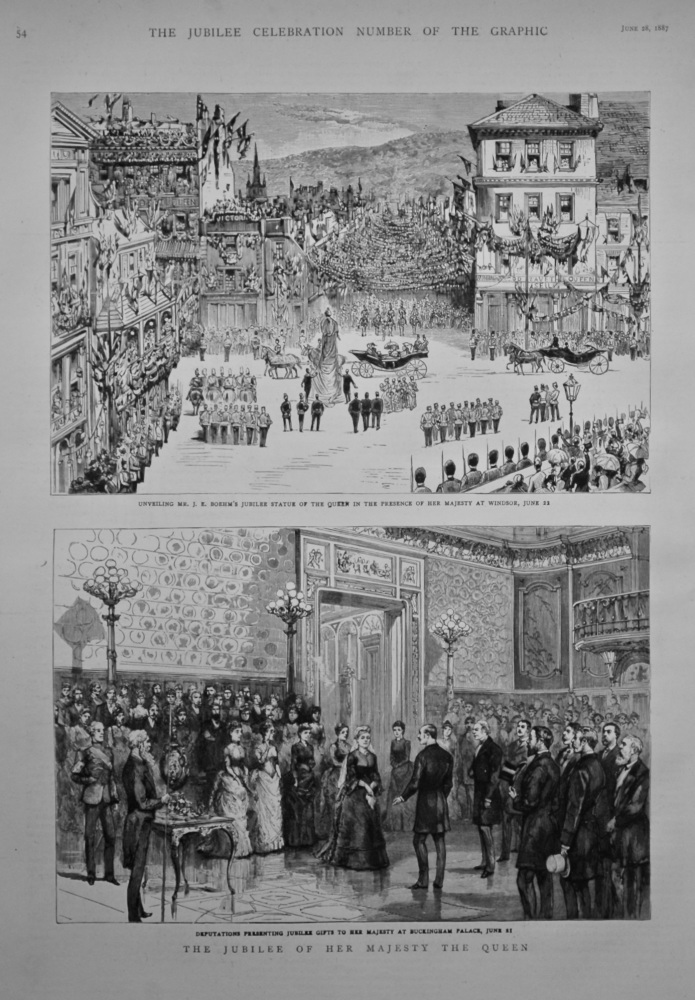 Unveiling Mr. J. E. Boehm's Jubilee Statue of the Queen in the Presence of Her Majesty at Windsor, June 22. 1887.