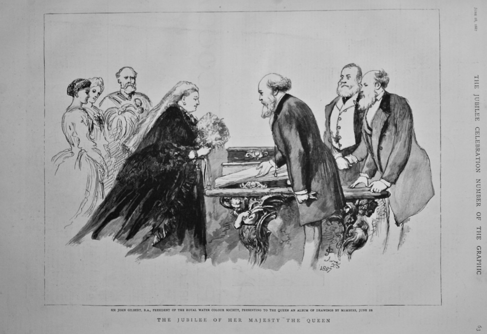 Sir John Gilbert, R.A., President of the Royal Water Colour Society, Presenting to the Queen an Album of Drawings by Members, June 12th 1887.
