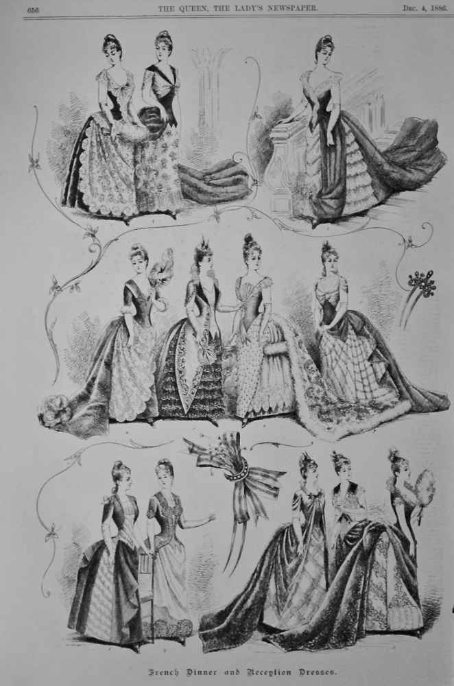 French Dinner and Reception Dresses.  1886.