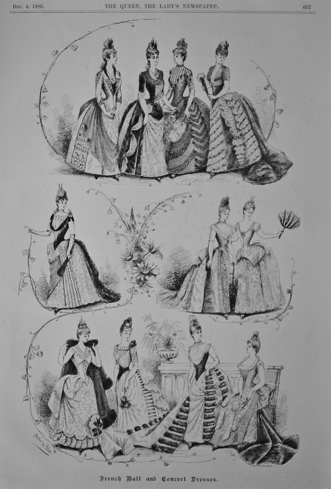 French Ball and Concert Dresses.  1886.