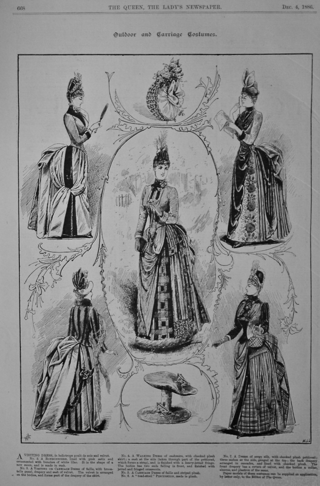 Outdoor and Carriage Costumes.  1886.