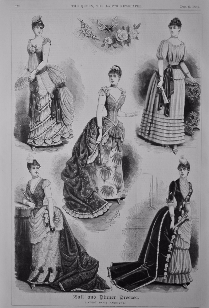 Ball and Dinner Dresses. (Latest Paris Fashions)  1884.