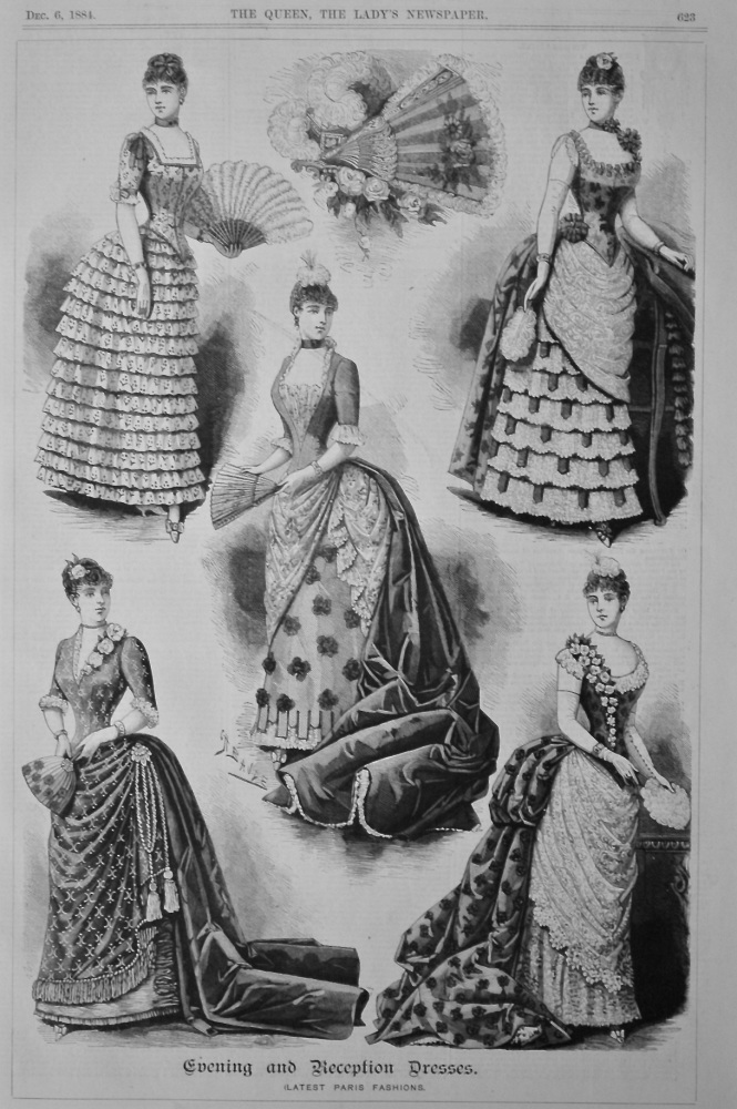 Evening and Reception Dresses. (Latest Paris Fashions). 1884.