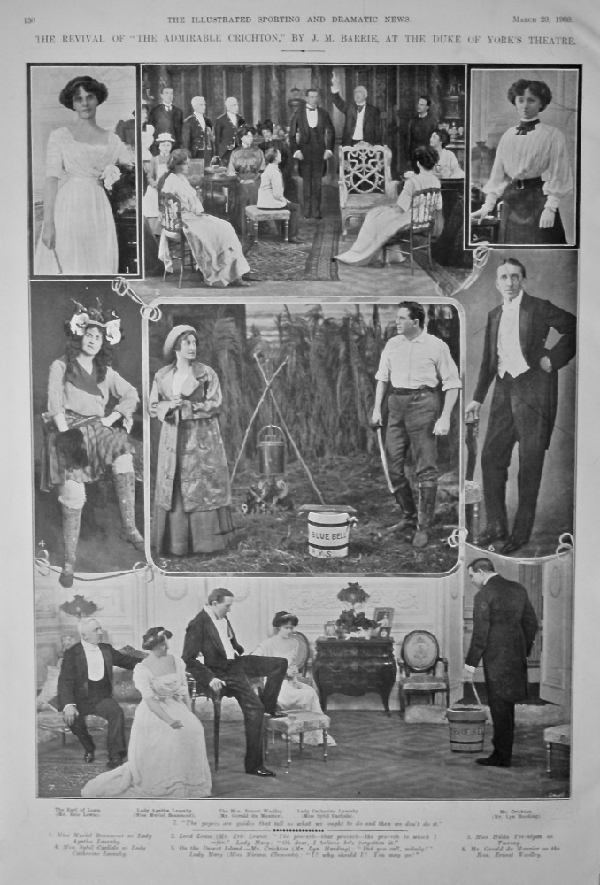 """The Revival of """"The Admiral Chrichton,"""" By J. M. Barrie, at the Duke of York's Theatre. 1908."""