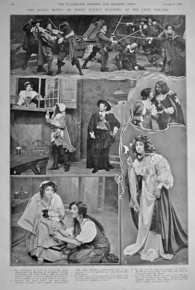 """The Duke's Motto,"" By Justin Huntly McCarthy, at the Lyric Theatre.  1908."
