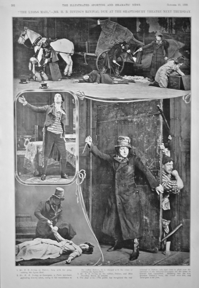 """""""The Lyons Mail.""""- Mr. H. B. Irving's Revival Due at the Shaftesbury Theatre Next Thursday.  1908."""