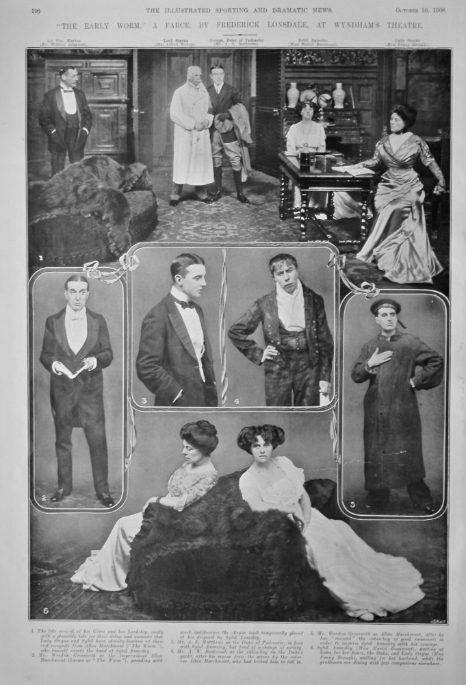 """""""The Early Worm."""" A Farce by Frederick Lonsdale, at Wyndham's Theatre.  1908."""
