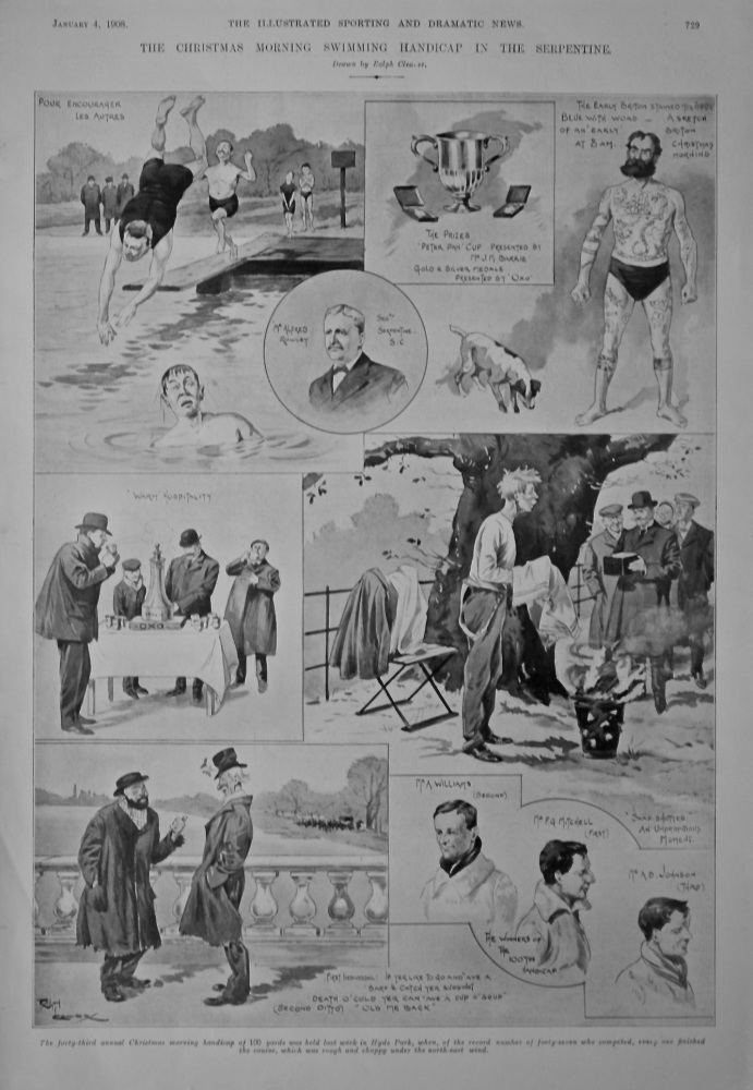 The Christmas Morning Swimming Handicap in the Serpentine.  1908.