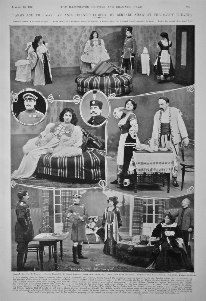 """""""Arms and the Man,"""" an Anti-Romantic Comedy, by Bernard Shaw, at the Savoy Theatre.  1908."""
