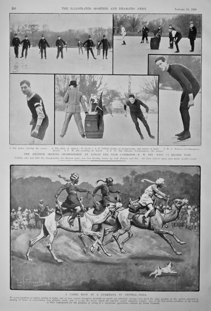The Amateur Skating Championship at Lingay Fen, near Cambridge.- F. W. Dix wins in Record Time.  1908.