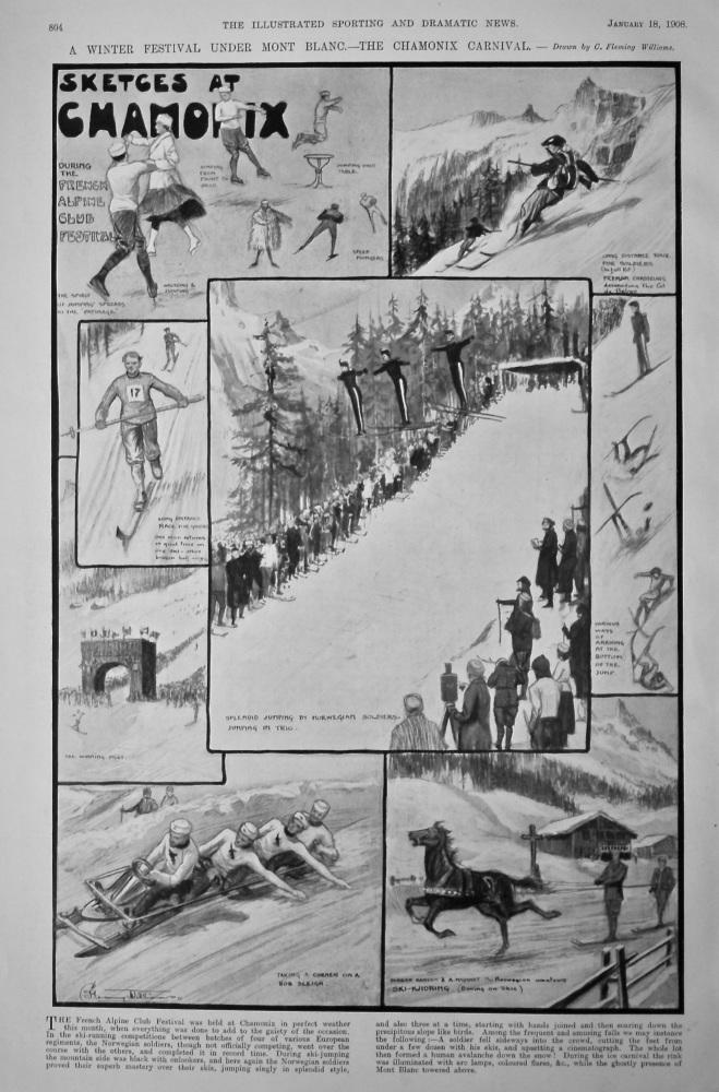 Sketches at Chamonix.  A Winter Festival under Mont Blanc.- The Chamonix Carnival.  1908.