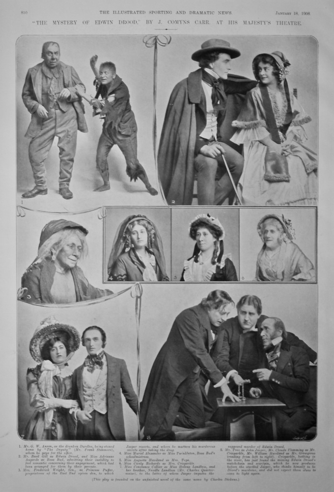 """""""The Mystery of Edwin Drood,"""" by J. Comyns Carr, at His Majesty's Theatre.  1908."""